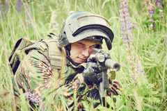 Military soldier with assault rifle Stock Photos