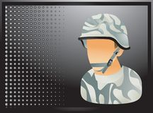 Military soldier on black halftone banner vector illustration