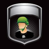 Military soldier on black halftone template Stock Images