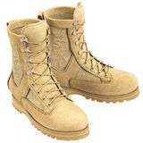 Military soldier boots Stock Photos