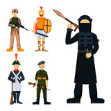 Military soldier character weapon symbols armor man silhouette forces design and american fighter ammunition navy. Camouflage sign vector illustration. Uniform stock illustration