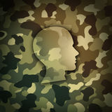 Military Soldier Concept. As battlefield camouflage shaped as the head of a brave veteran as a metaphor for national defense warrior in a 3D illustration style Royalty Free Stock Images