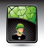 Military soldier on cracked background stock illustration