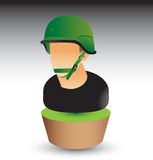 Military soldier on green patch Royalty Free Stock Image