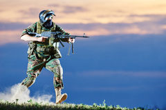Military soldier with machine gun Royalty Free Stock Image