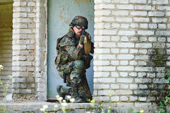Military soldier with rifle Stock Images