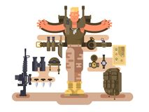 Military soldier rookie and ammunition design flat royalty free illustration