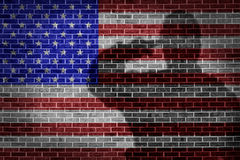 Military soldier saluting USA flag. Military soldier saluting, shadow on brick wall Stock Images