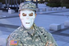 Military soldier with skeleton face.  stock photo