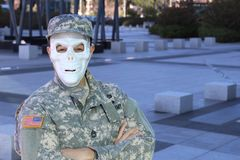 Military soldier with skeleton face.  stock photos