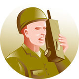 Military soldier talking radio Stock Photo