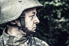 Ukrainian military soldier stock photo