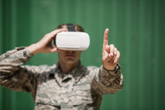 Military soldier using virtual reality headset Royalty Free Stock Photography