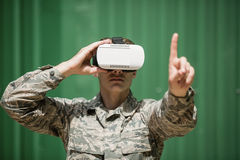 Military soldier using virtual reality headset Stock Photos