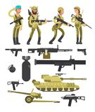 Military soldiers with ammunition, guns and weapons isolated vector collection. Weapon and soldier, army military fighter and tank illustration Royalty Free Stock Photos