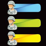 Military soldiers in camouflage on colored tabs Stock Photography