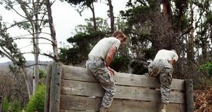 Military soldiers climbing a wooden wall at boot camp 4k. Military soldiers climbing a wooden wall at boot camp during obstacle course 4k stock video