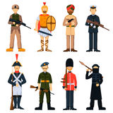 Military soldiers in uniform avatar character set isolated vector illustration. Stock Image