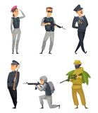 Military soldiers with various weapons. Vector characters. With gun, woman warrior illustration royalty free illustration