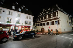 Military soliders patrol the center of Strasbourg Stock Photography