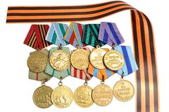 Military soviet medals of Great Patriotic war, Saint George ribbon Stock Photos
