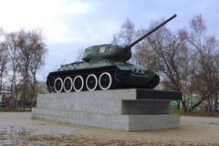 Military Soviet tank in the park of the Victory. Royalty Free Stock Photo