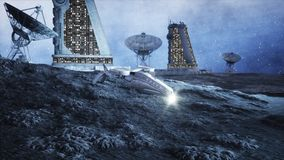 Military space ship fly on moon. Moon colony. Earth backround. 3d rendering. Stock Photography