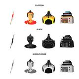 Military spear, Mongolian warrior, helmet, building.Mongolia set collection icons in cartoon,black,monochrome style. Vector symbol stock illustration Royalty Free Stock Photo