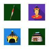 Military spear, Mongolian warrior, helmet, building.Mongolia set collection icons in flat style vector symbol stock Stock Images