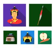 Military spear, Mongolian warrior, helmet, building.Mongolia set collection icons in flat style vector symbol stock. Illustration Stock Photos