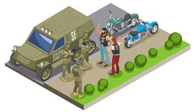 Military Special Forces Isometric Composition. Military special forces during detention of bikers isometric composition with army vehicle and motor cycles vector royalty free illustration