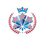 Military Star emblem created with royal crown and laurel wreath. Heraldic vector design element, 5 stars guaranty insignia. Retro style label, heraldry logo stock illustration