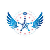 Military Star emblem, winged victory award symbol created using Royalty Free Stock Photo