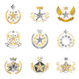 Military Stars emblems set. Heraldic vector design elements coll Stock Images
