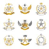 Military Stars emblems set. Heraldic vector design elements coll Stock Photo