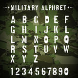 Military stencil alphabet on a camouflage Royalty Free Stock Photo