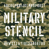 Military stencil alphabet font. Type letters and numbers on distressed camo seamless background. Vector typography for your design royalty free illustration