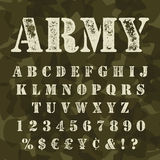 Military stencil alphabet set camouflage. Military stencil alphabet set. Army stencial lettering with camouflage background. Vectro abc uppercase with signs and Stock Illustration
