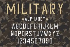 Military stencil font. Army stencil alphabet and numbers on camouflage background. Vintage typeface. royalty free illustration