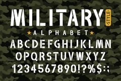 Military stencil font on camouflage background. Stencil alphabet with numbers in retro army style. Vintage masculine font for stencil-plate. Vector stock illustration