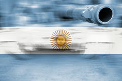 Military strength theme, motion blur tank with Argentina flag Royalty Free Stock Photo