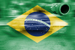 Military strength theme, motion blur tank with Brazil flag royalty free stock images