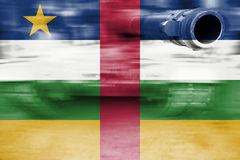 Military strength theme, motion blur tank with Central African R Royalty Free Stock Photography