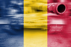 Military strength theme, motion blur tank with Chad flag Stock Image
