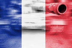 Military strength theme, motion blur tank with France flag Stock Image