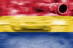 Military strength theme, motion blur tank with Romania flag Stock Photography