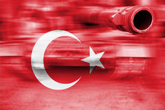 Military strength theme, motion blur tank with Turkey flag royalty free stock image