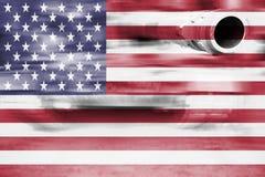 Military strength theme, motion blur tank with USA flag Royalty Free Stock Photos