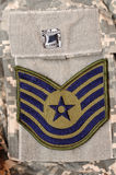 Military stuff 31. Air Force rank patch on ACU uniform Stock Images