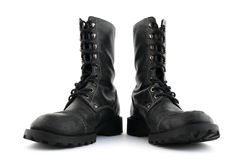 Military style black boots Royalty Free Stock Photo
